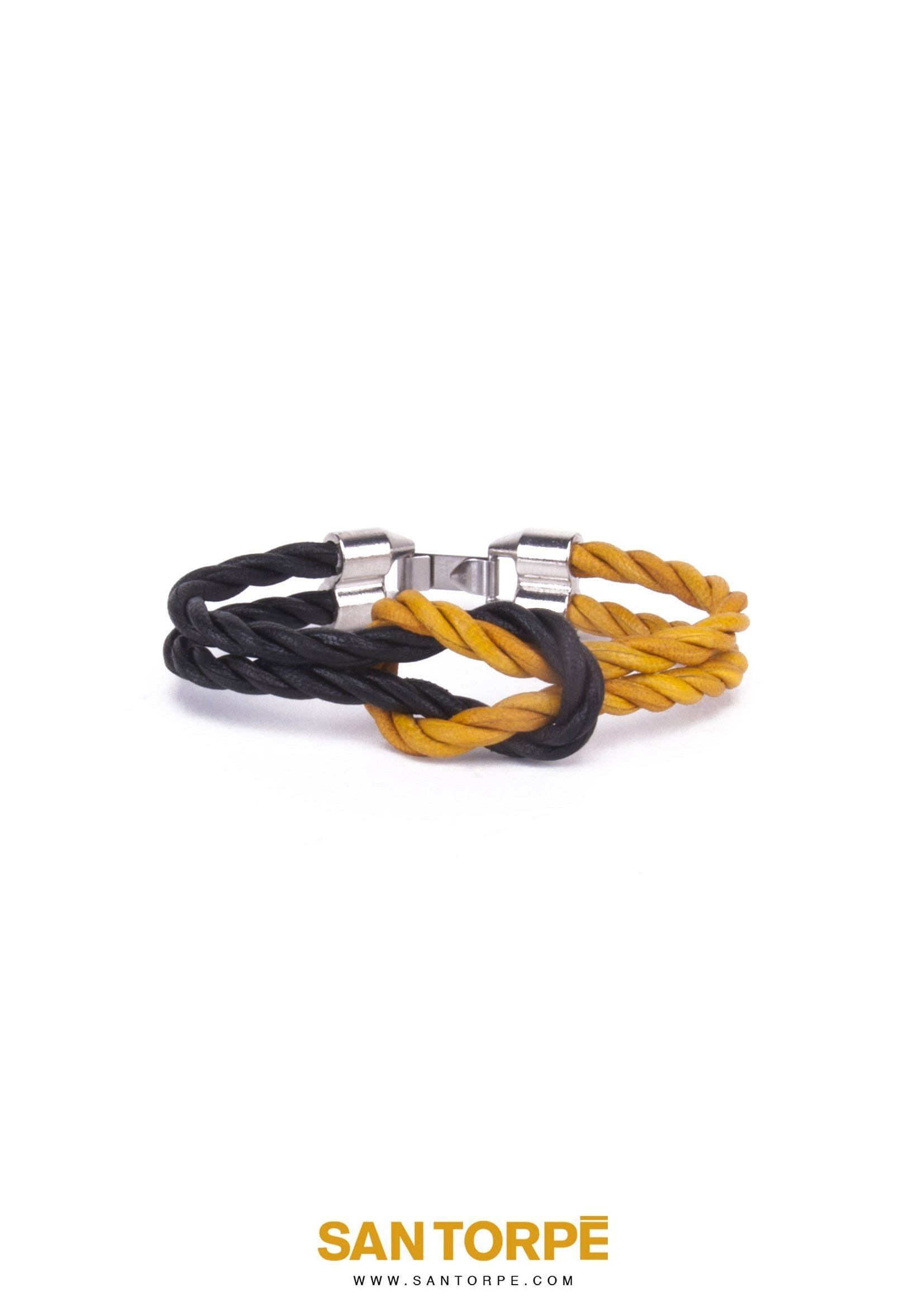 BLACK KNIGHT/TOPAZ GOLD LEATHER BRACELET-0