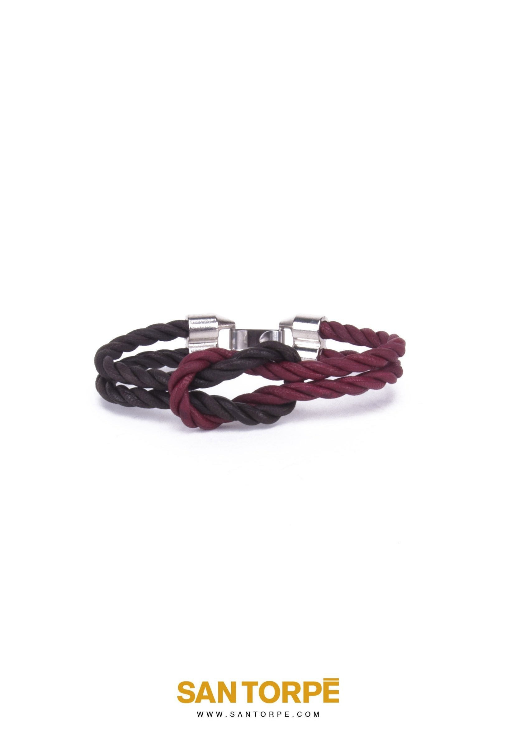 CHOCO BANG/ANTIQUE RUBY LEATHER BRACELET-0
