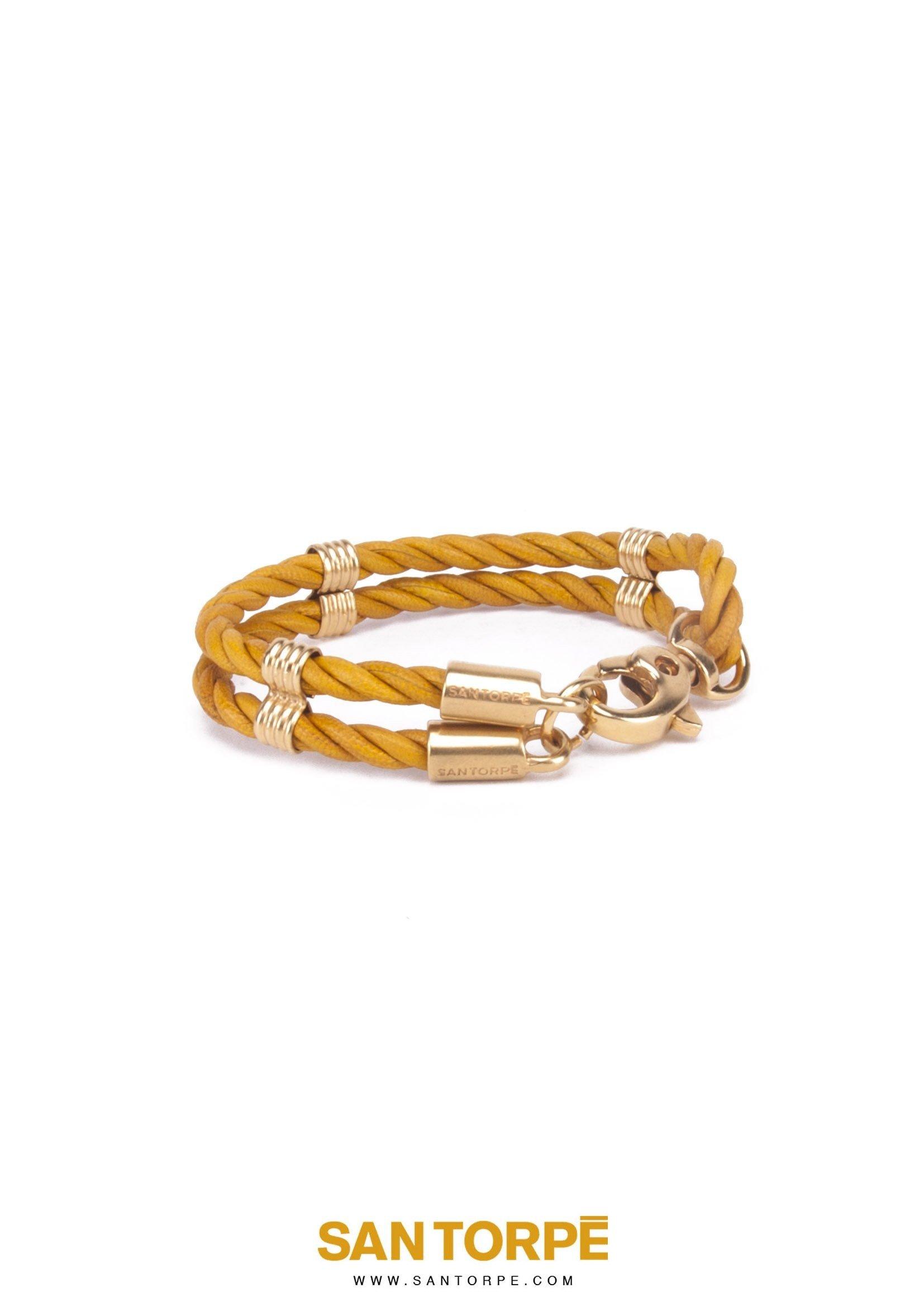 TOPAZ GOLD LEATHER BRACELET-688