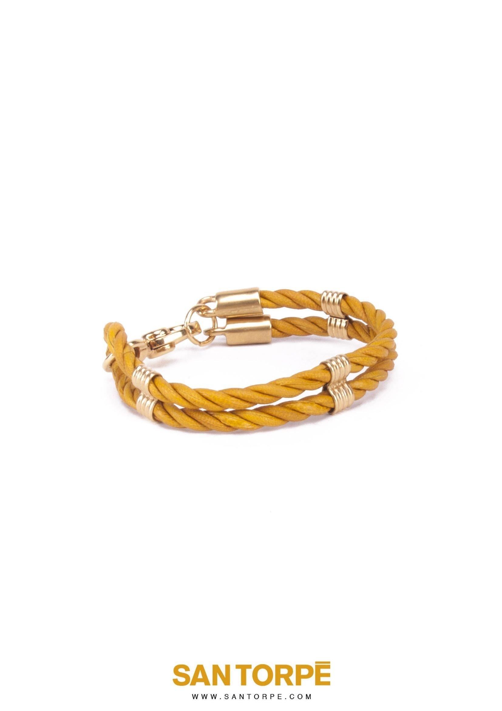 TOPAZ GOLD LEATHER BRACELET-687