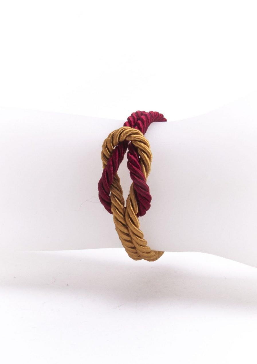 TOPAZ GOLD / ANTIQUE RUBY KNOT BRACELET-868