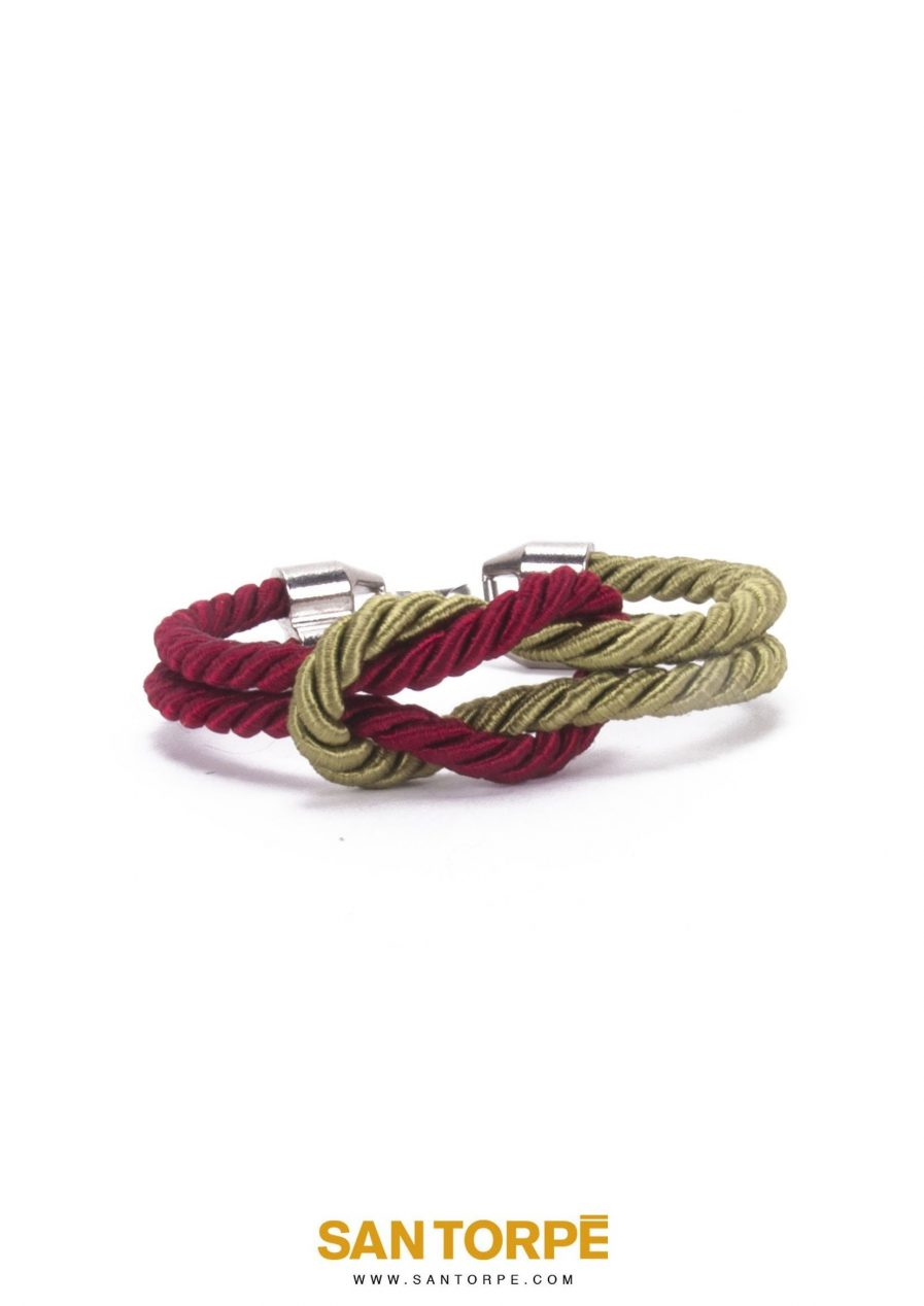 ANTIQUE RUBY / CAPER OLIVE KNOT BRACELET-0