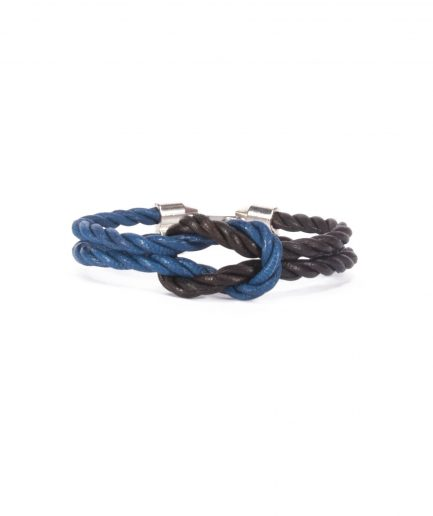 CAPRI BLUE / CHOCO BANG LEATHER BRACELET-0