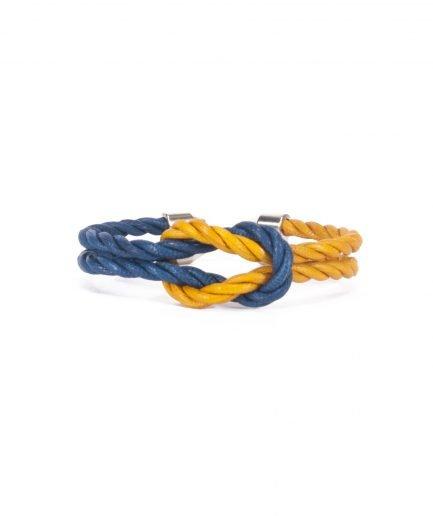 CAPRI BLUE / TOPAZ GOLD LEATHER BRACELET-0