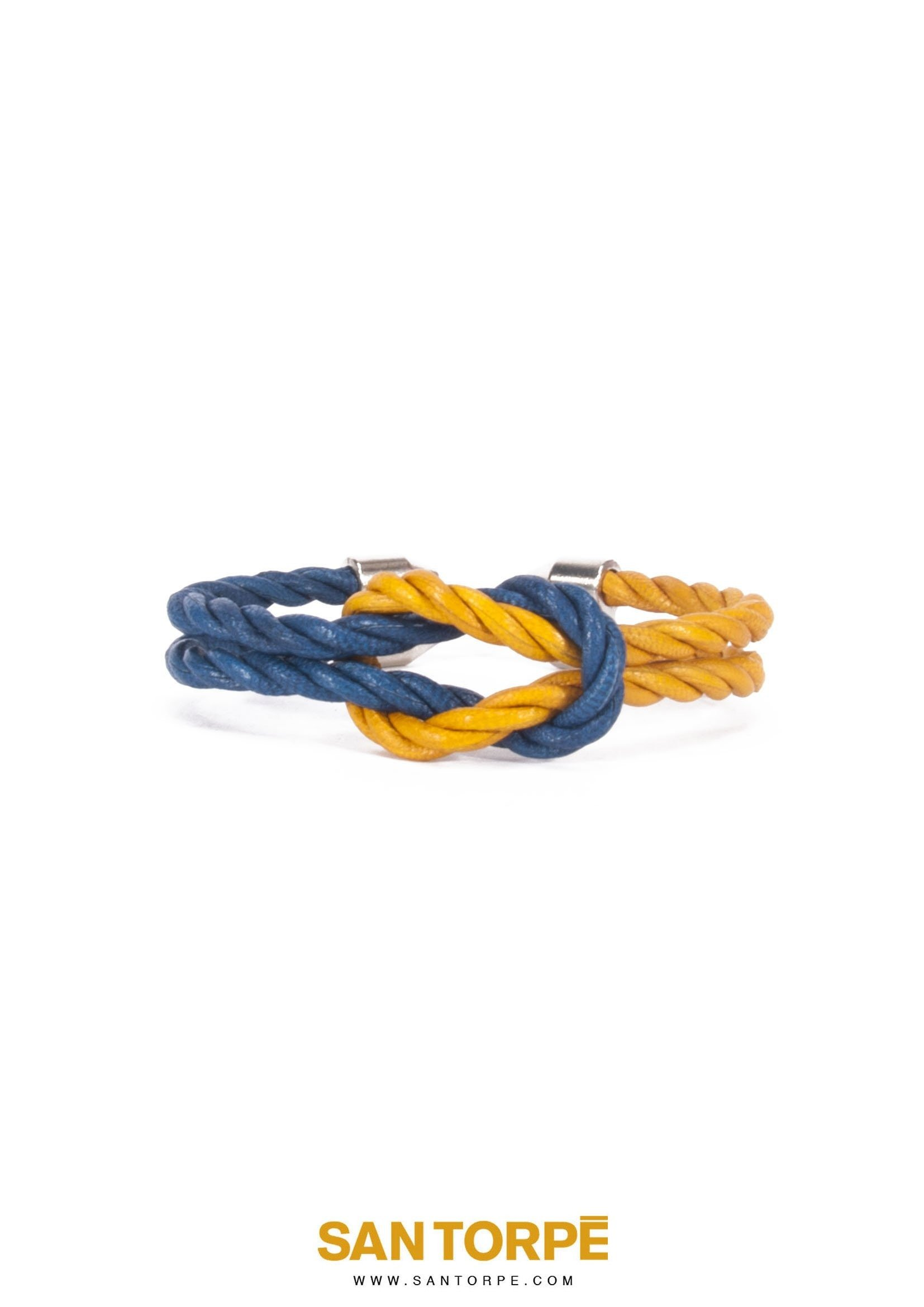 CAPRI BLUE / TOPAZ GOLD LEATHER BRACELET-0
