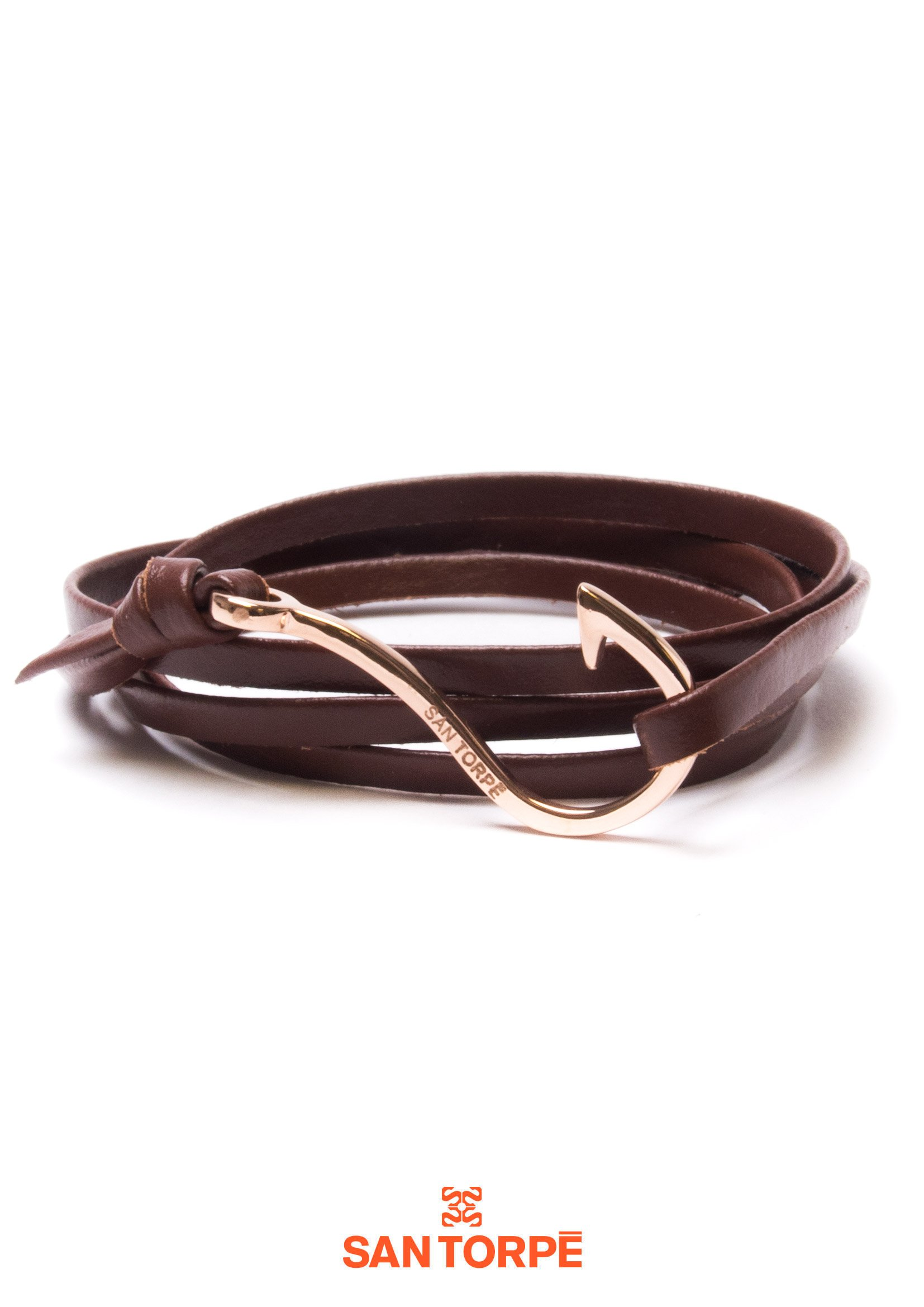 BROWN LEATHER HOOK BRACELET-0