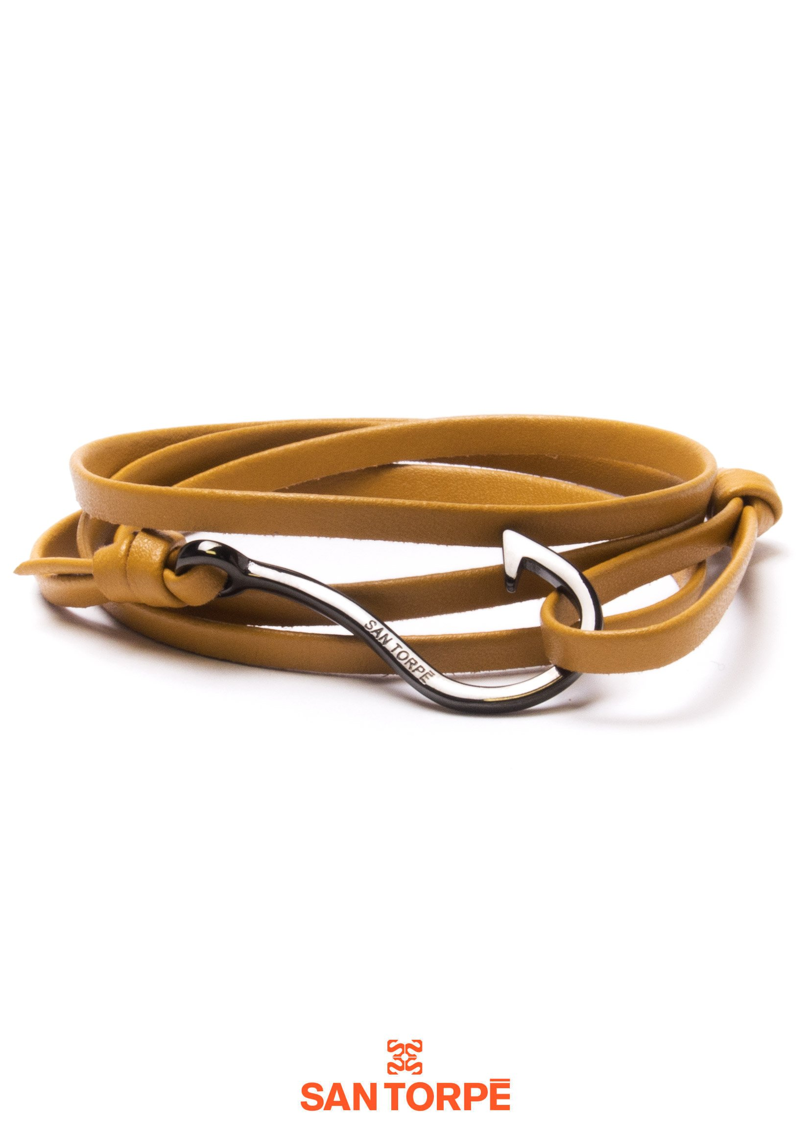 CAMEL LEATHER HOOK BRACELET-0